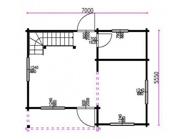 Blockhaus Cambal - Grundriss EG