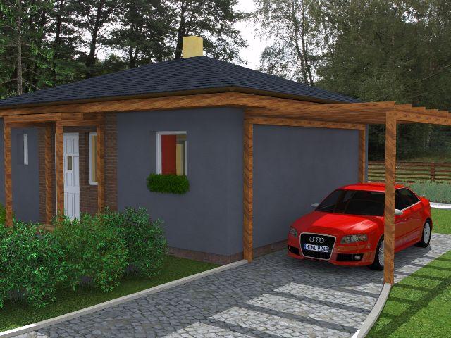 Bungalow 02 - Hauseingang mit Carport