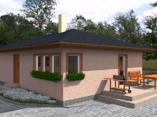 Bungalow 03 - Seitenansicht mit Blick auf Terrasse