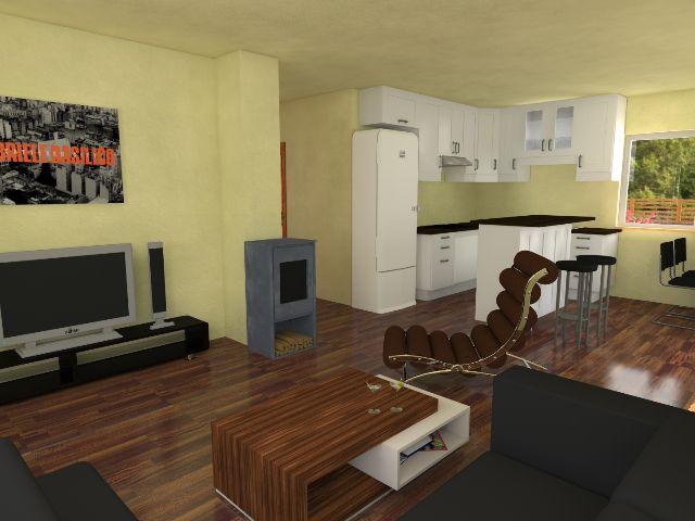 Bungalow 03 - Offener Wohnbereich mit Küche