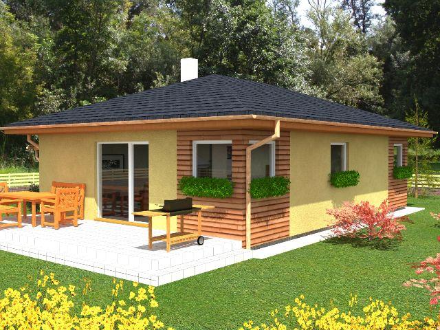 Bungalow 04 - Gartenansicht mit Terrasse