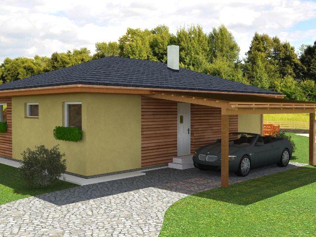 Bungalow 04 - Hauseingang mit Carport