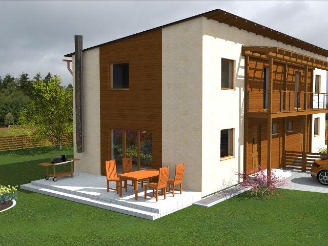Doppelhaus 02 - Gartenansicht mit Terrasse