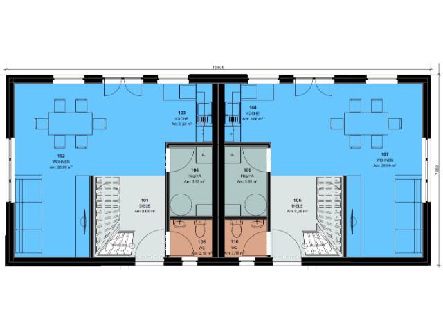 Doppelhaus 03 - Grundriss EG