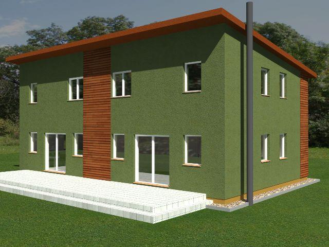Doppelhaus 04 - Gartenansicht mit Terrasse