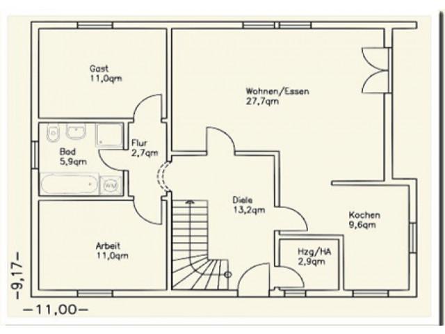 Einfamilienhaus Bella 12 - Grundriss EG