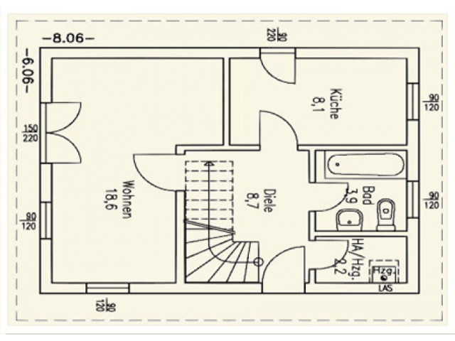 Einfamilienhaus Bella 05 - Grundriss EG