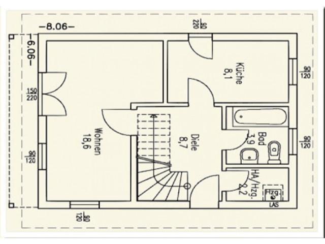 Einfamilienhaus Bella 06 - Grundriss EG