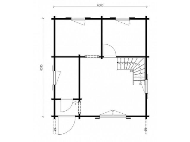 Blockhaus Heide - Grundriss EG