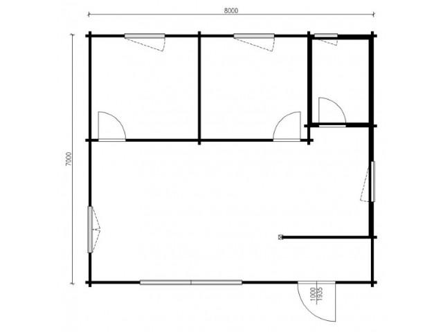 Blockhaus Mirow - Grundriss