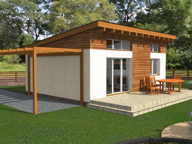 Haus mit Pultdach Pult 01 - Rückansicht Terrasse und Carport