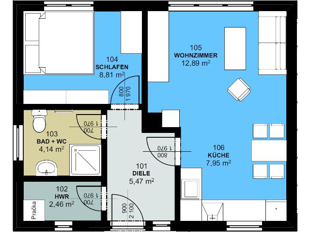 Haus mit Pultdach Pult 01 - Grundriss