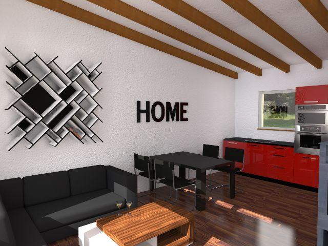 Haus mit Pultdach Pult 01 - Wohnbereich