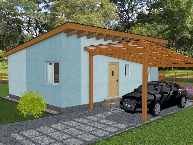 Haus mit Pultdach Pult 02 - Hauseingang und Carport
