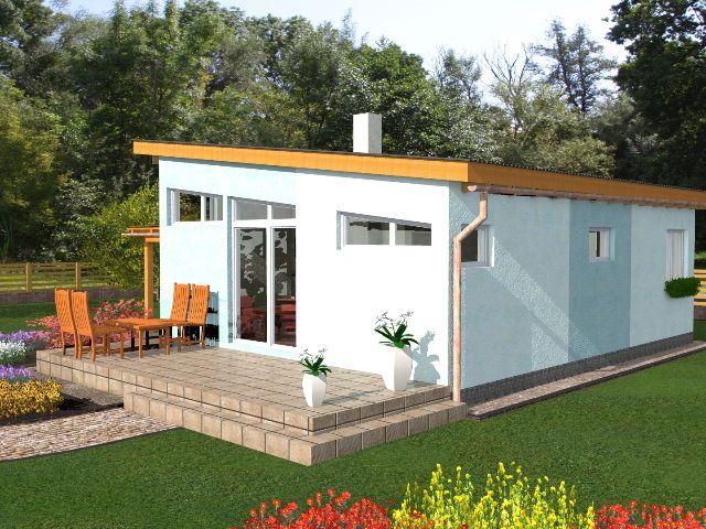 Haus mit Pultdach Pult 02 - Gartenansicht Terrasse