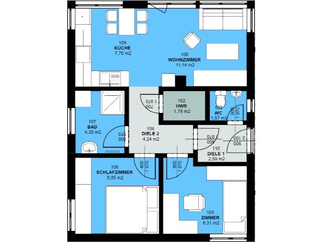 Haus mit Pultdach Pult 02 - Grundriss