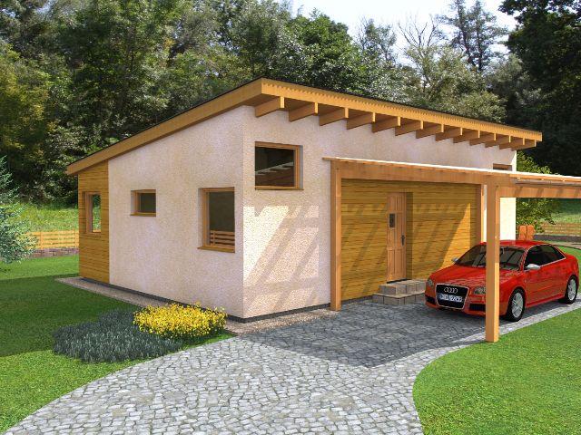 Haus mit Pultdach Pult 04 - Hauseingang mit Carport