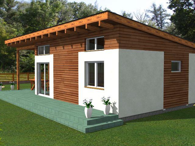 Haus mit Pultdach Pult 05 - Gartenansicht