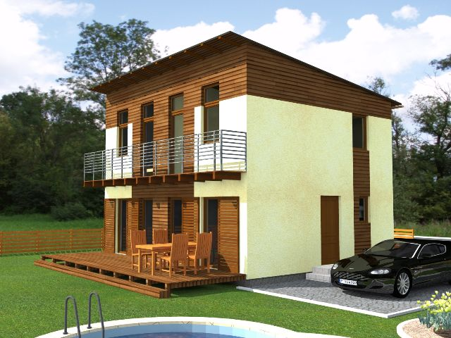 Haus mit Pultdach Trendhaus 01 - Gartenansicht