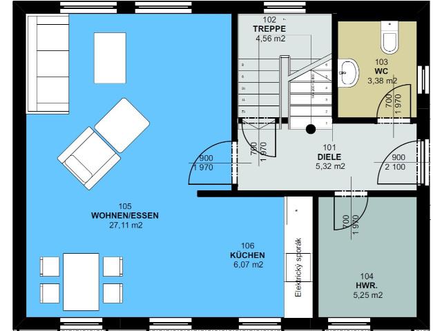 Haus mit Pultdach Trendhaus 01 - Grundriss EG