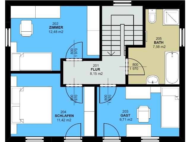 Haus mit Pultdach Trendhaus 01 - Grundriss DG