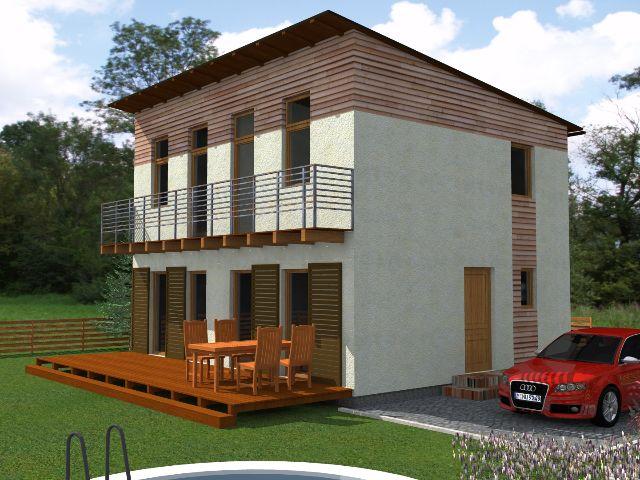 Haus mit Pultdach Trendhaus 02 - Gartenansicht