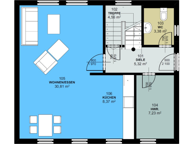Haus mit Pultdach Trendhaus 02 - Grundriss EG