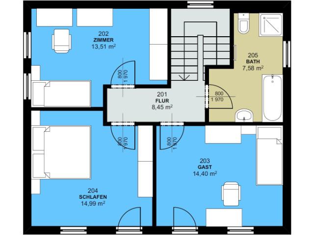 Haus mit Pultdach Trendhaus 02 - Grundriss DG