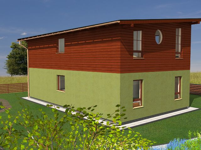Haus mit Pultdach Trendhaus 03 - Rückansicht