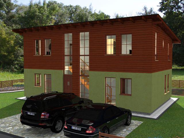 Haus mit Pultdach Trendhaus 03 - Hauseingang mit Stellplätzen