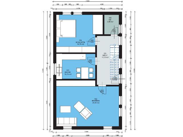 Haus mit Pultdach Trendhaus 03 - Grundriss EG