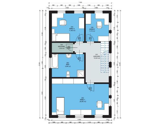 Haus mit Pultdach Trendhaus 03 - Grundriss DG