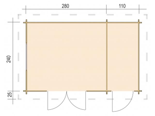 Gerätehaus H28AN-3924F-DT - Grundriss
